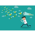 Businessman running with butterfly money vector image vector image