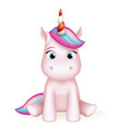 cartoon unicorn 3d cute toy character design vector image