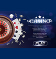 casino background roulette wheel with playing vector image vector image