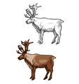 Christmas Santa reindeer isolated sketch icons set vector image vector image