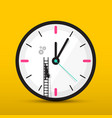 clock icon with man on ladder time maintenance vector image vector image