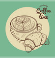 coffee cup and croissant vector image vector image