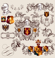 collection heraldic elements in vintage style vector image vector image
