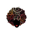 curly afro hair portrait african woman red lips vector image vector image