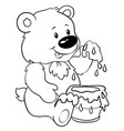 cute bear with honey - eps 10 vector image vector image