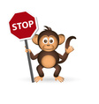 cute chimpanzee little monkey holding stop sign vector image vector image