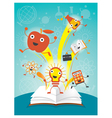 education characters jump out book science program vector image