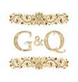g and q vintage initials logo symbol vector image vector image