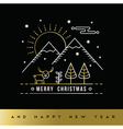 Gold Christmas New Year outline winter forest card vector image vector image