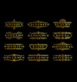 golden premium quality label set gold text logo vector image