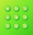 green game ui - set buttons for mobile game or app vector image vector image