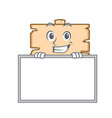 grinning with board wooden board character cartoon vector image