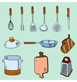 Hand drawn doodle sketch kitchen utensils for vector image vector image