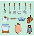 hand drawn doodle sketch kitchen utensils vector image