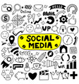 hand drawn set social media vector image