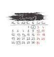 Handdrawn calendar January 2015 vector image vector image