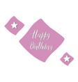 happy birthday text with purple decorative vector image