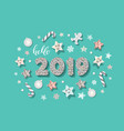 happy new year 2019 template with cute decorative vector image vector image