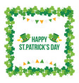 happy stpatricks day shamrock clover frame vector image vector image