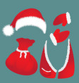 hat with pompon bag waistcoat santa claus vector image vector image
