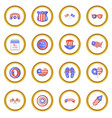 independence day icons circle vector image