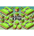 Isometric Roads on Two Levels Terrain vector image
