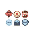 mountain camping retro logo badges set forest vector image vector image