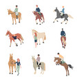 people on horseback a rider on a horse horse vector image