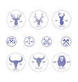 Polygonal hipster logo with heads of deer buffalo vector image vector image