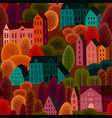 seamless pattern with autumn city vector image