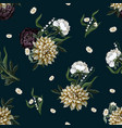 seamless pattern with dahlia and peony in vintage vector image
