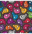 Seamless pattern with funny colored skulls vector image