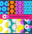 set of colorful floral patterns vector image vector image