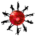Silhouettes of people dancing on a disco ball vector image vector image