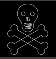 skull and bones the white path icon vector image