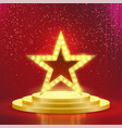 star podium lamps red light background vector image vector image