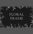 stylish floral frame white on black card vector image