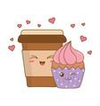 sweet cupcake and coffee pastry kawaii characters vector image