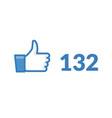 thumbs up like social network icon vector image