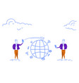 two businessmen using smartphone global chat vector image vector image