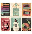 vintage collection musical posters vector image vector image