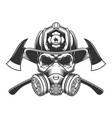 vintage monochrome firefighter skull vector image vector image