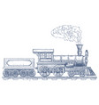 vintage steam locomotive logo design vector image