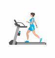 woman running on treadmill vector image