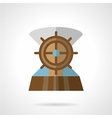 Wooden helm flat icon vector image vector image