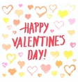 Pastel painted hearts valentine card vector image