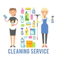 Young smiling cleaner woman service vector image