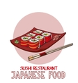 Japanese food cuisine roll sushi restaurant vector image