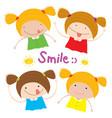 kids girl children smile happy cartoon character vector image