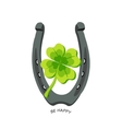 Horseshoe and four leaf clover - lucky symbol be vector image